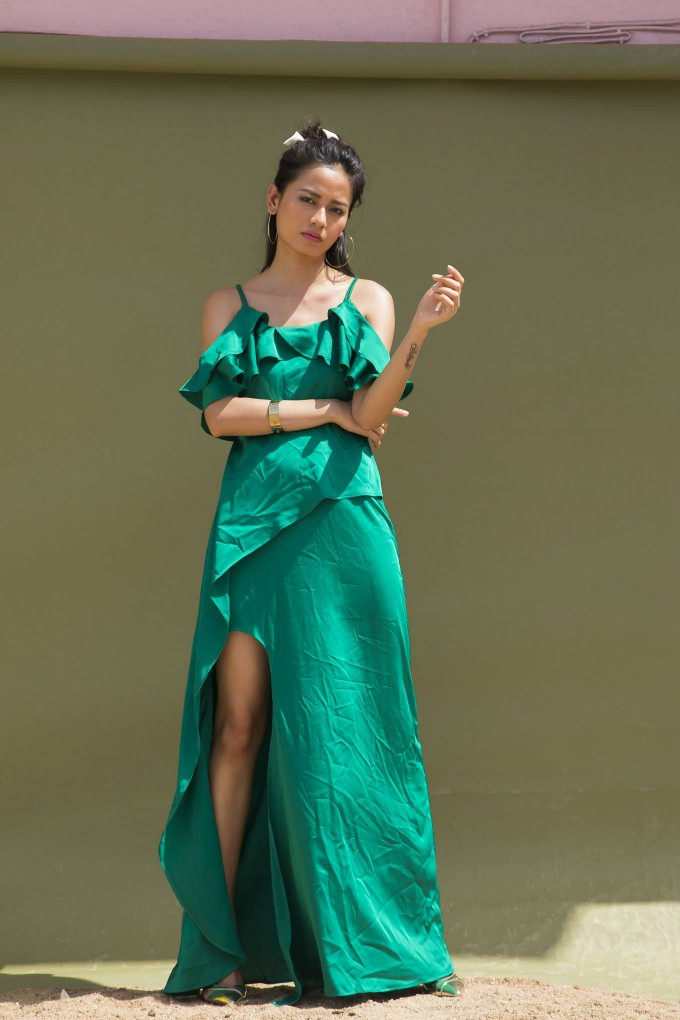 GREEN SATIN OFF SHOULDER LONG DRESS WITH SLIT