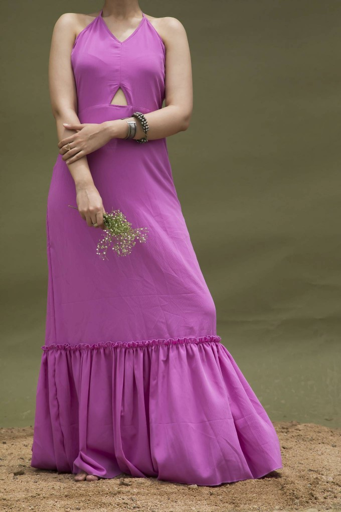PINK HALTER DRESS WITH RUCHING DETAIL AT BOTTOM