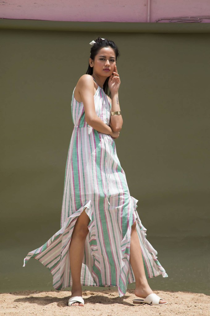 STRIPED SLEEVELESS PINK LONG DRESS WITH SLITS