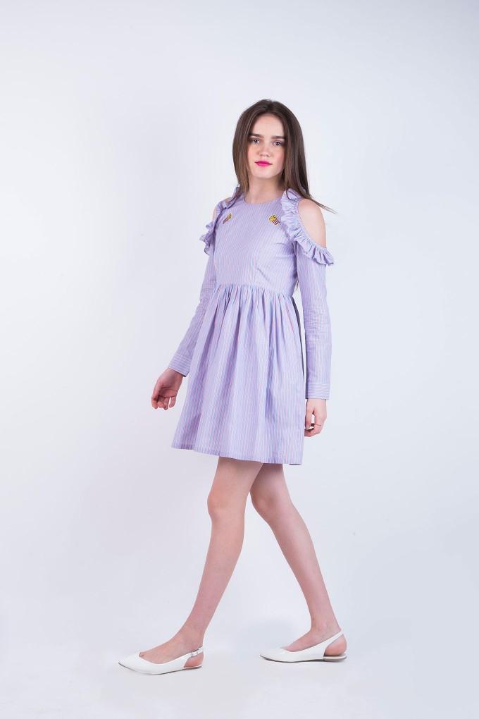 Fleur Striped Knee Length French Fries Dress