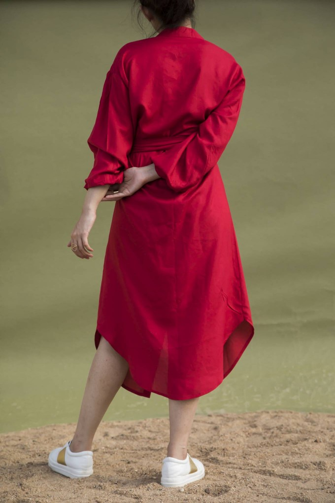 Red Midi Dress with Bubble sleeves and Centre belt tie up