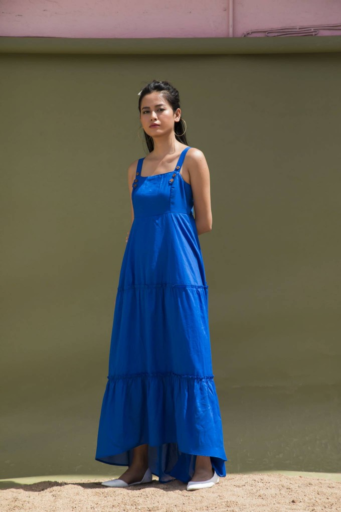 Three tier Bright Blue Summer Midi Dress