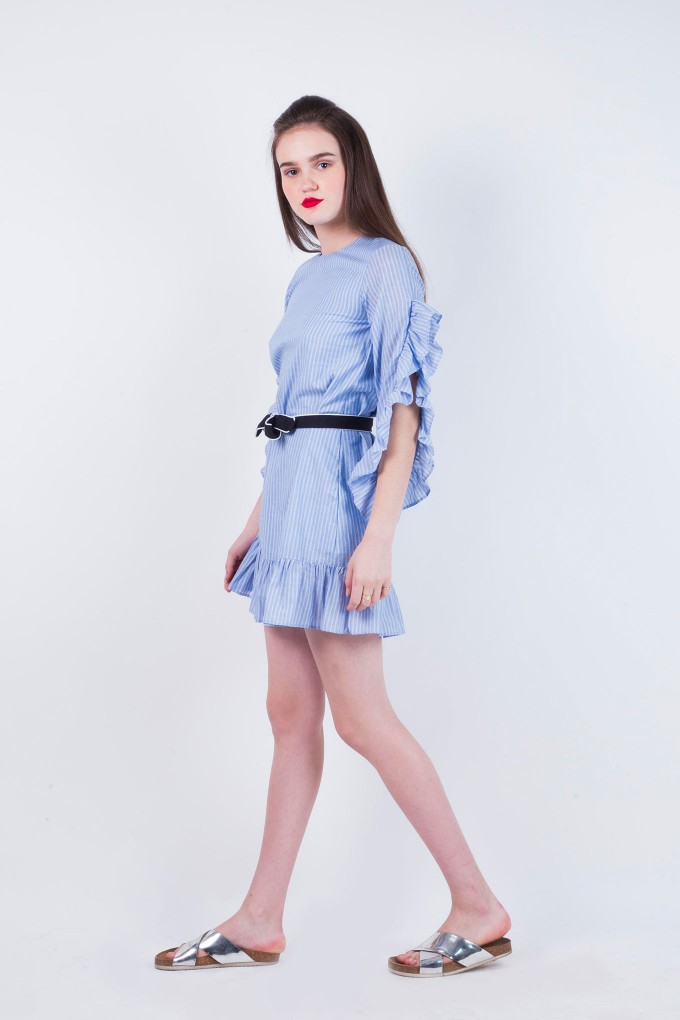 Blue and White Frill Striped Dress with Black Belt