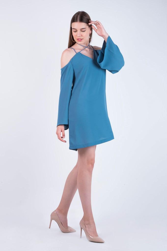 Aegean Blue Cold Shoulder Short dress