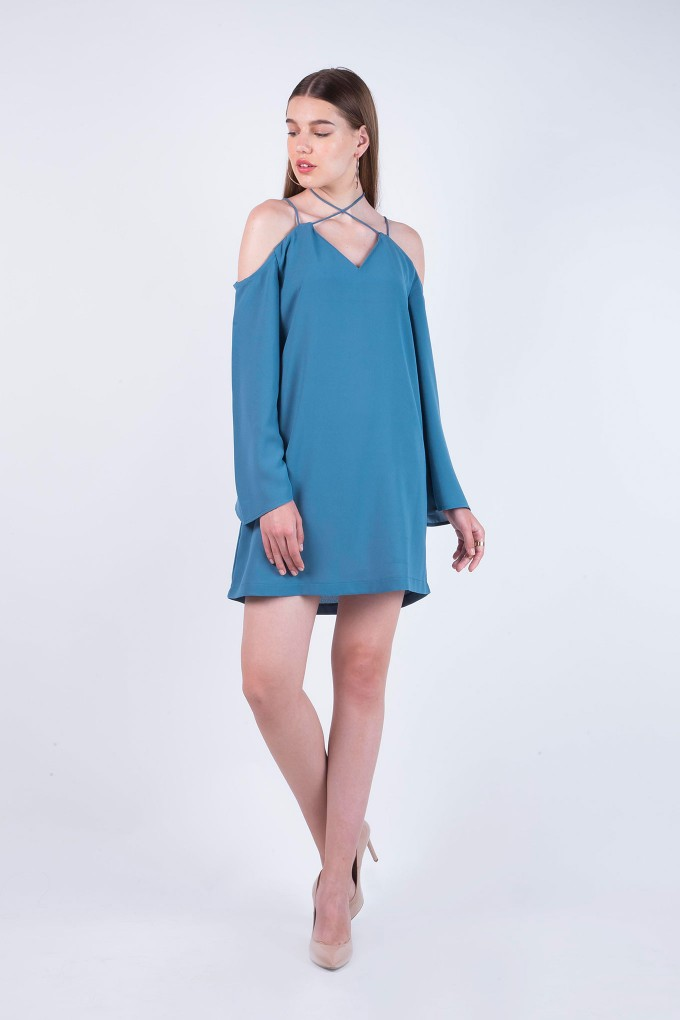 Aegean Blue Cold Shoulder Short dress