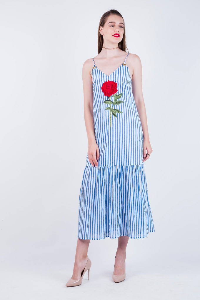 Iona Blue And White Stripes Spaghetti Long Dress with Patchwork