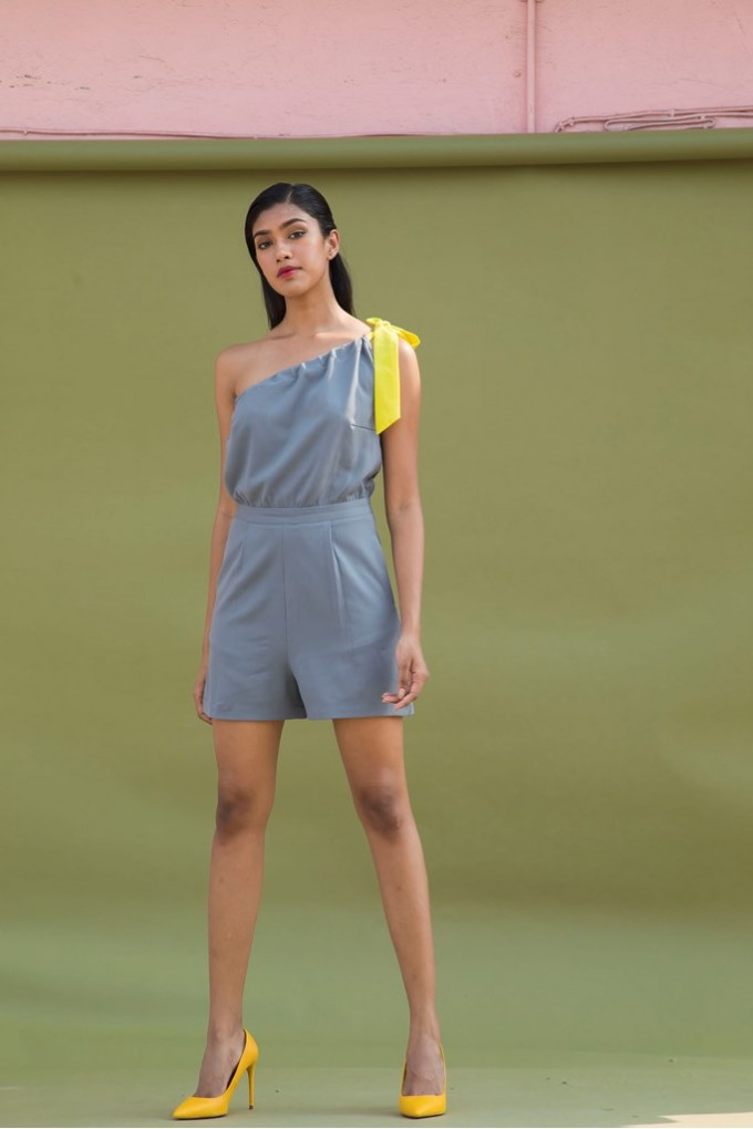 Grey One Shoulder Playsuit with Yellow Tie Up