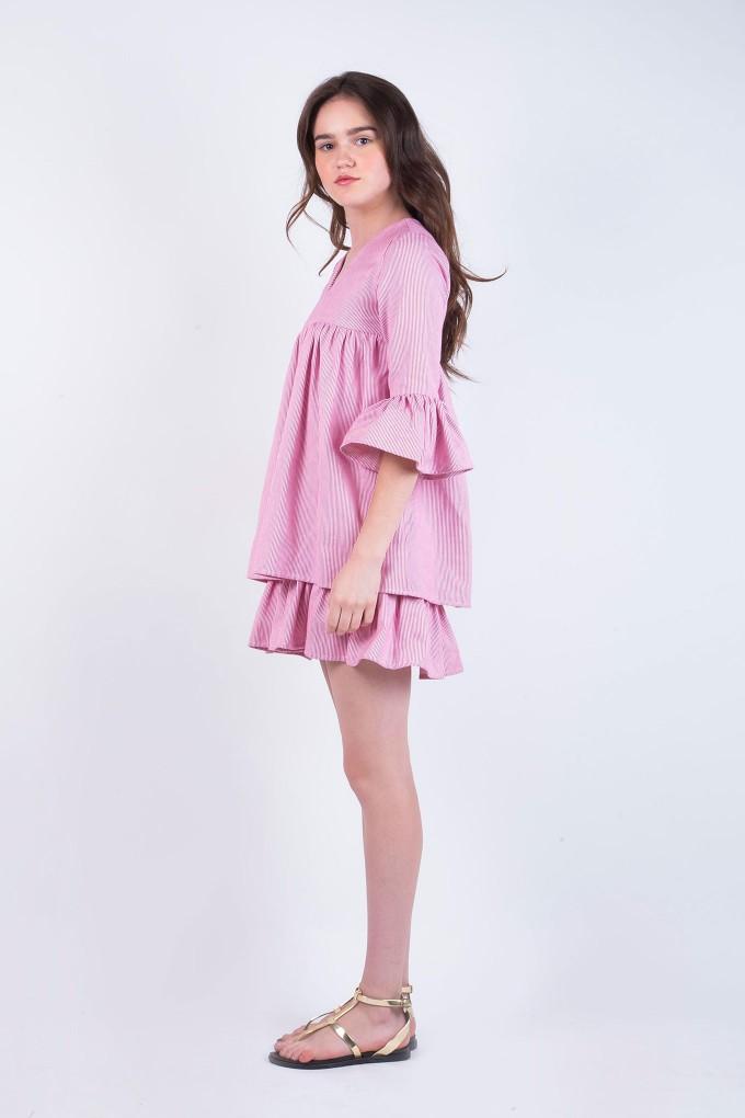 Ella Striped Pink and white Short Dress