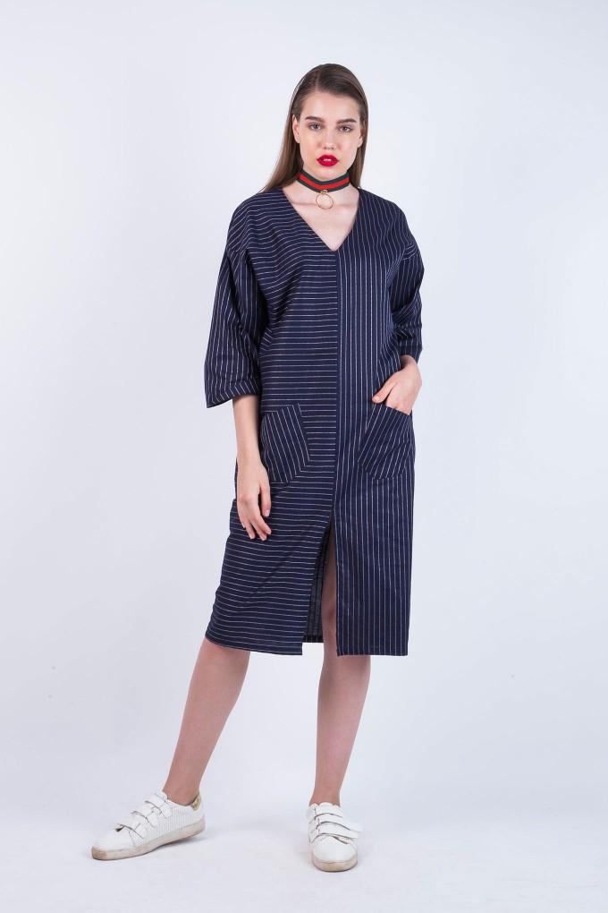 Michelle Blue Striped Boyfriend Dress