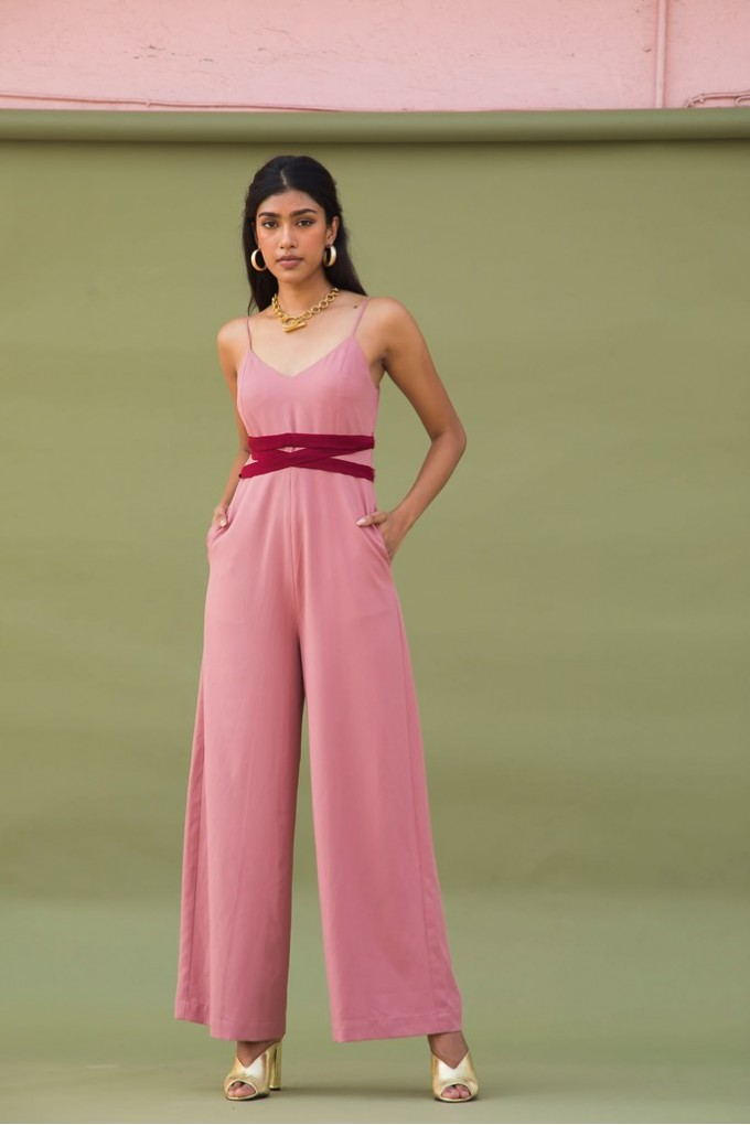 Blush Party Jumpsuit With Front Red Tie Up