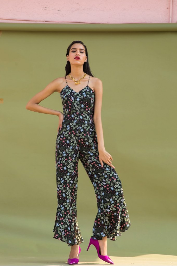 Multicolour Small Flower Jumpsuit With Frilled Hem