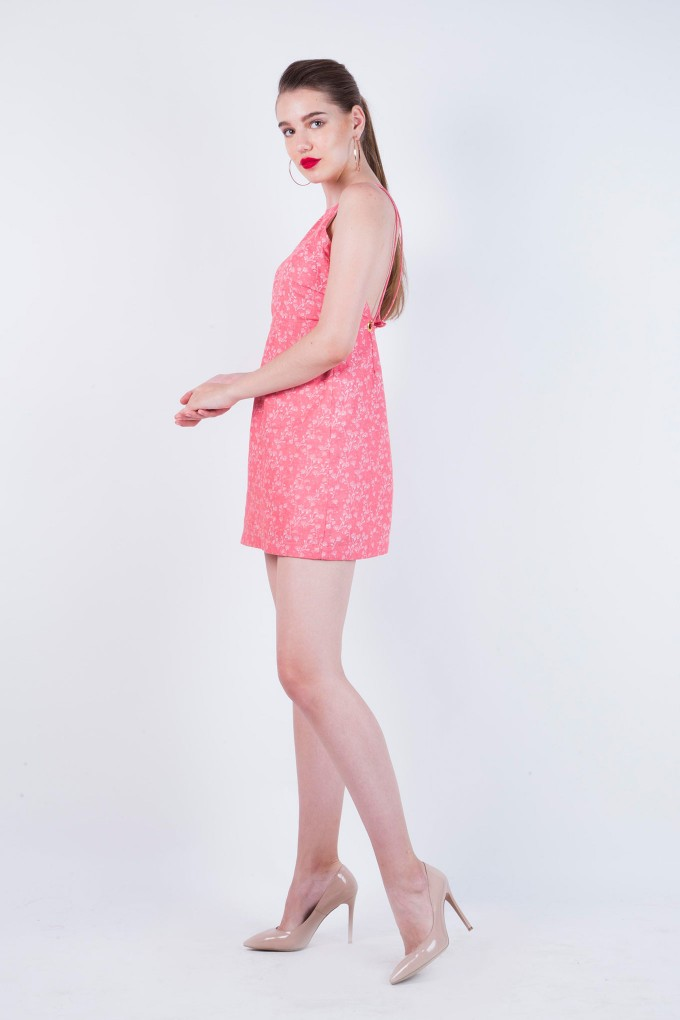 Carrot Eyelet Dress with Open Back