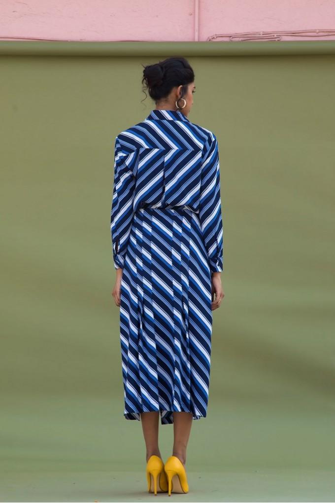 Blue And White Diagonal Stripes Skort Set