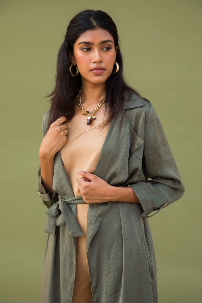 Olive Green Trench Coat Set