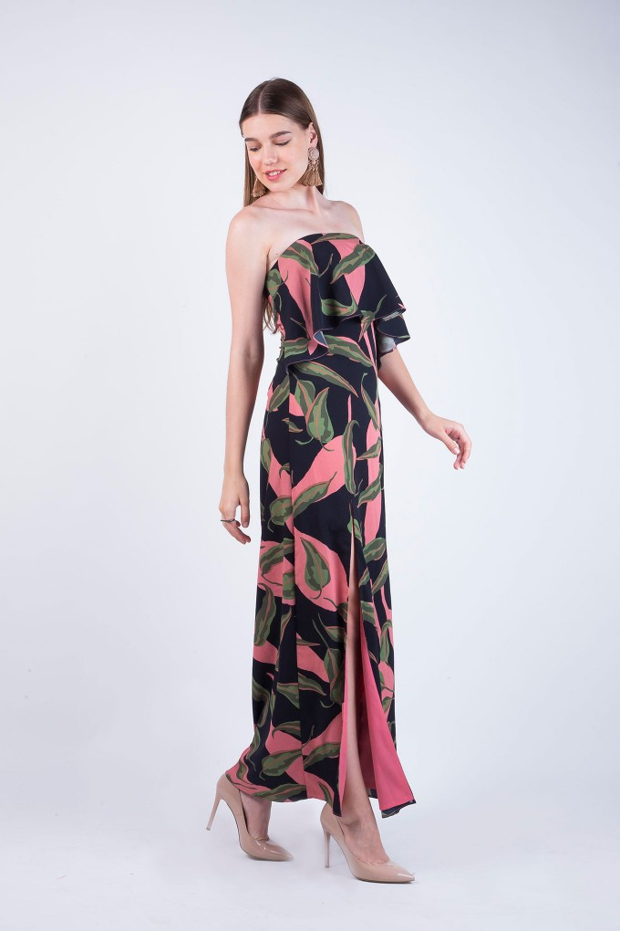 Emma Big Floral Tube Dress with Flowers