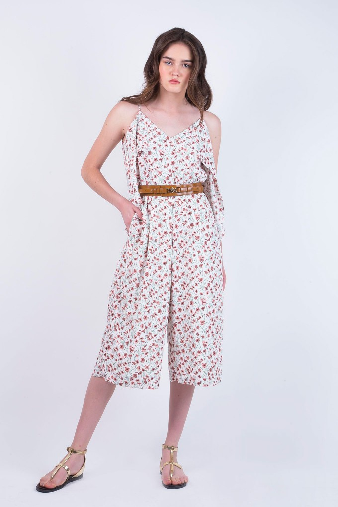 Daisy Print Pink Jumpsuit