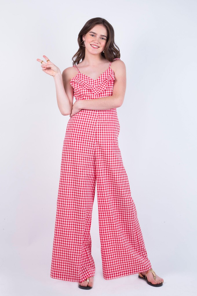 Gingham Red Jumpsuit