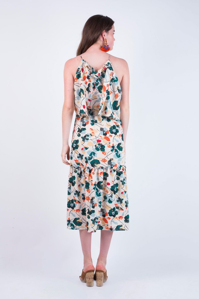 Helen Cream Multi Coloured Floral Print Closed Neck Dress