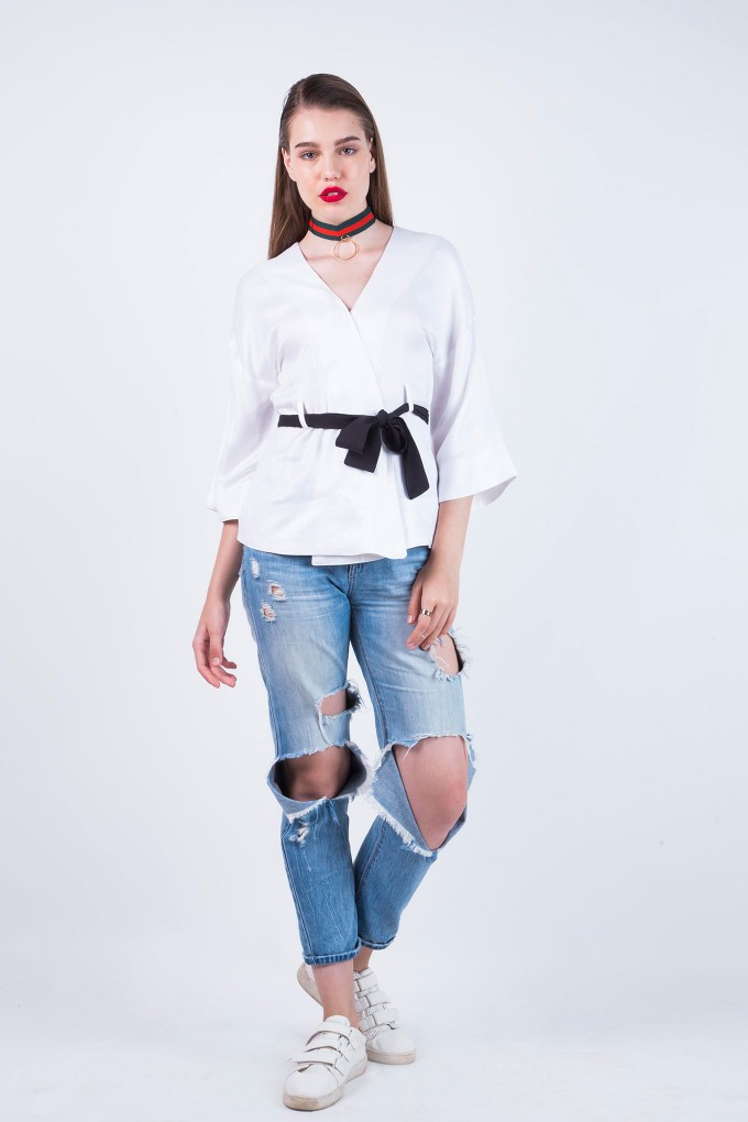 Jules White Wraparound Top With Black Belt
