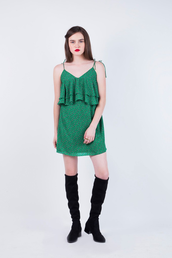 Ivy Green Spaghetti Frill Short dress