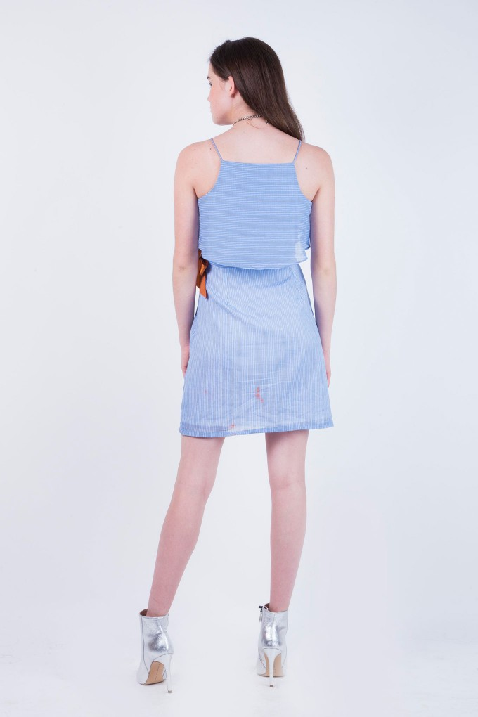 Harper Blue and  white Striped Short Dress with Brown Belt