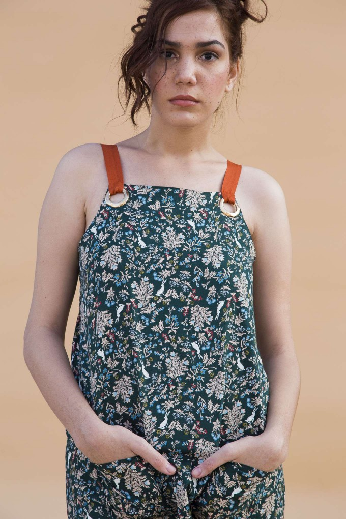 Green printed dress with brown tape