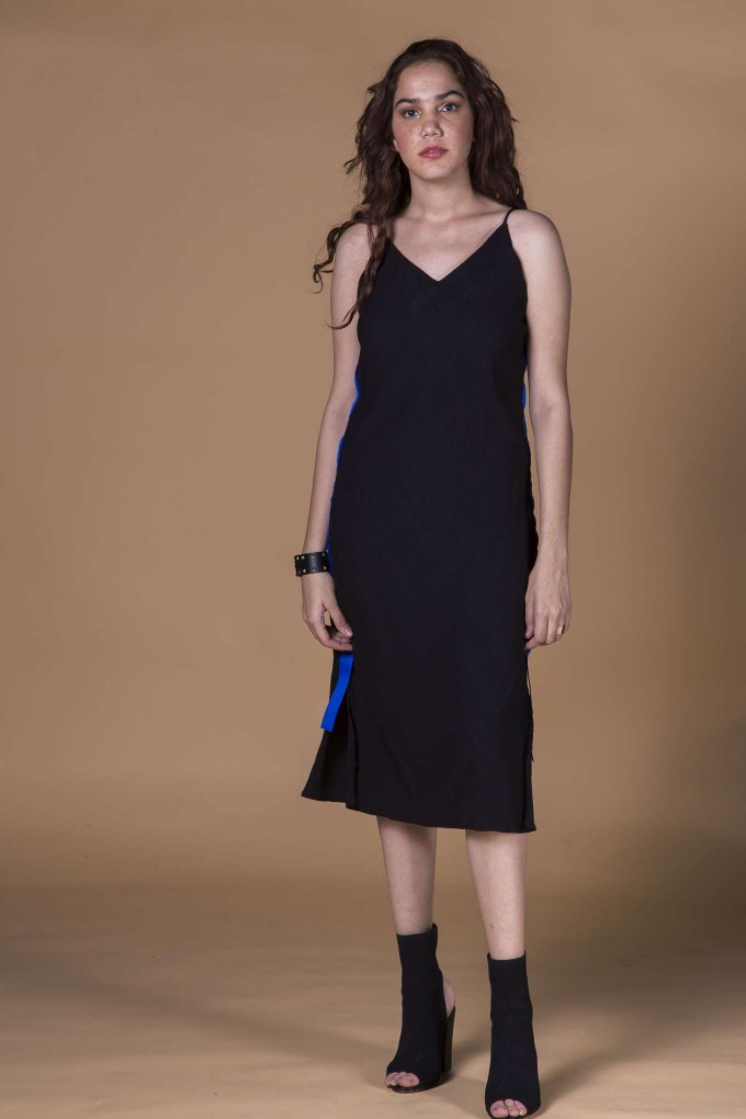 Black Spaghetti Dress with Blue Tape