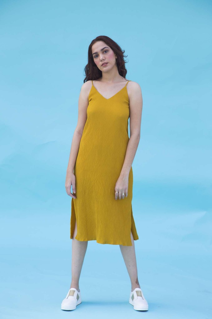 Yellow Ankle length Spaghetti Dress