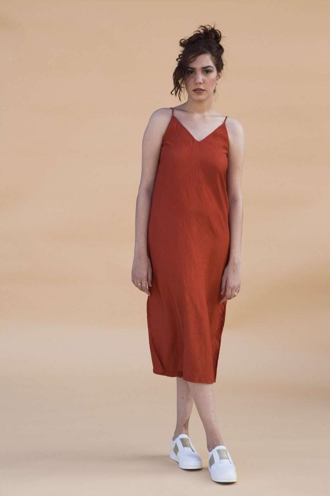 Rust Ankle length Spaghetti Dress