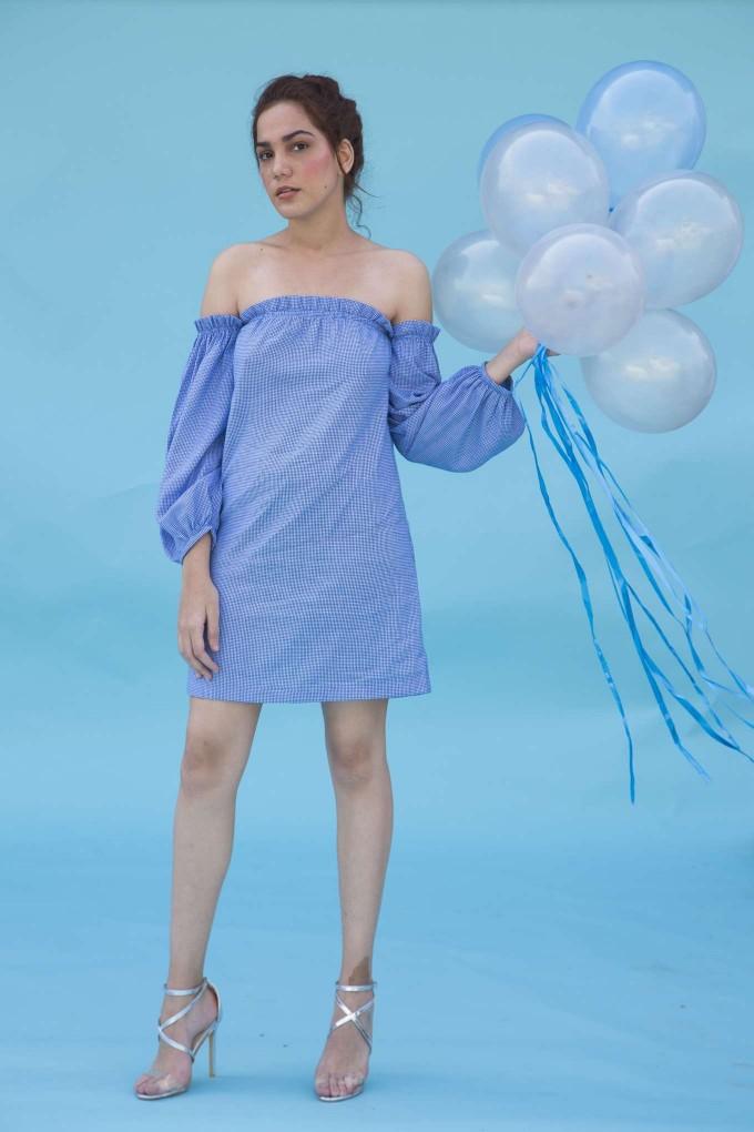 Blue and white houndstooth off shoulder short dress