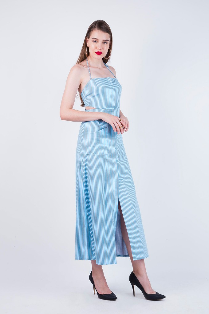 Margaret Blue and White Ankle Length Dress