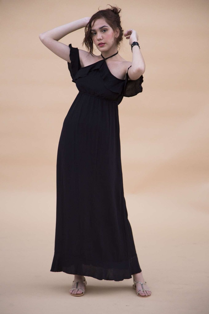 Black long halter dress with frill sleeves