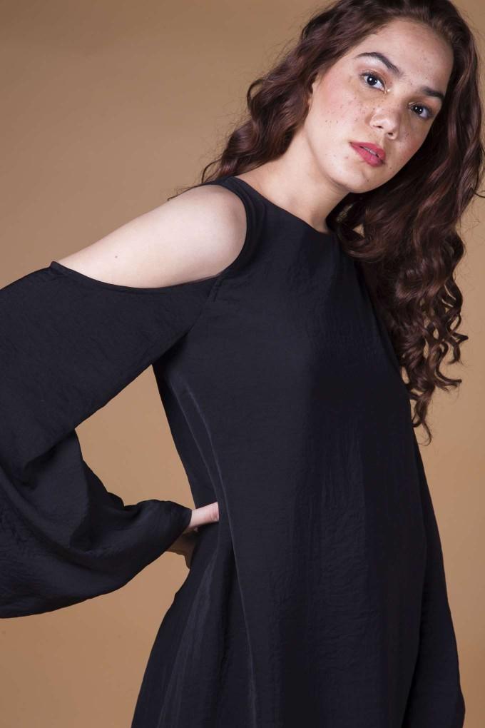 Black cold shoulder short dress