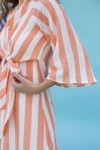 Orange and white bell sleeve short dress