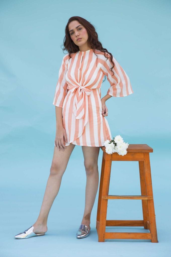 Orange and white bell sleeve short dress